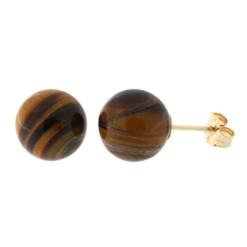 14k Yellow Gold Tigers Eye Ball Stud Earrings, 10mm 14k Yellow Gold Tiger