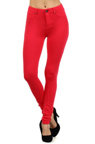 ToYou Apparel Women's Moleton Colors Pants Basic Skinny Leg Stretch Cotton Jeggings M CORAL