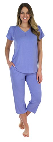 Pajama Heaven Solid Lavender Short Sleeve V-Neck with Capri (PHBJ1730-1024-XL) (Knit Lavender Pajamas)