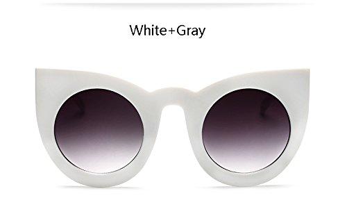 Sol Blanco Gafas Grande de Borrar Gafas de de Ronda Borrar Ojo ZHANGYUSEN Nueva Mujer Mujeres Sobredimensionado de Vintage Gato para Moda Bastidor gris XSwq1ax7