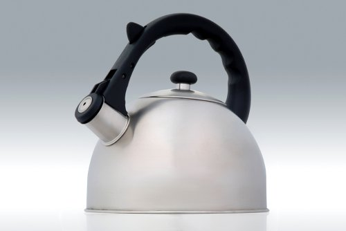 Creative Home Satin Splendor 2.8 Quart Stainless Steel Whistling Tea Kettle with Capsulated Bottom, Brushed Finish Body ()
