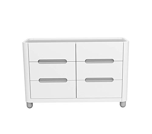 6 Drawer Dresser White/Pebble Gray Kids Bedroom Dresser with 6 Drawers Wood & Composite Construction Ideal for Nursery Toddlers Room Kids Room Decor Comfy Living Furniture Deluxe Premium Collection ()