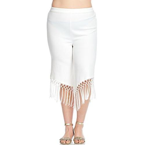 56ae56f8339a Hadari Women s Plus Size Stylish Sexy Elastic Fringe Crop Pants good ...