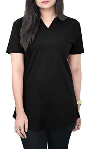 Cotton T-Shirt Women: 100% Cotton Tee Shirt, V-Neck Top, Plain T-Shirt, Breathable, Soft Comfortable T Shirt Women, Casual Style Top, Plain Tee HAK (Majestic Black, X-Large)