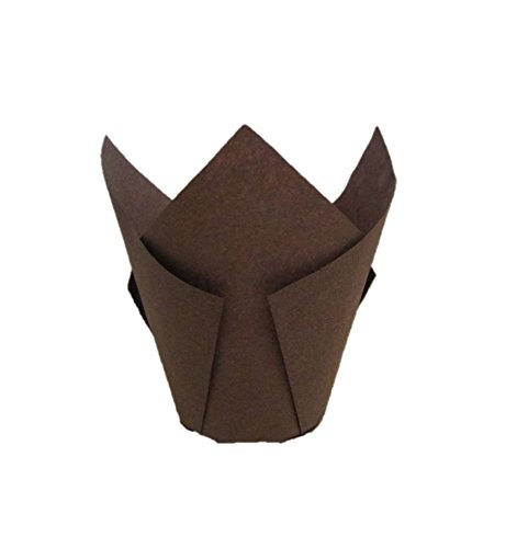 Premium Disposables 200 Brown Tulip Style Baking Cups Cupcake Liners Wrappers, Oven Safe Parchment Baking Liners. Large Size 2 3/4-4 Inches.