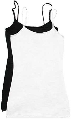 Womens 2 Pk Soft Cotton Plain Long Tunic Cami Tank Top with (Length Camisole)