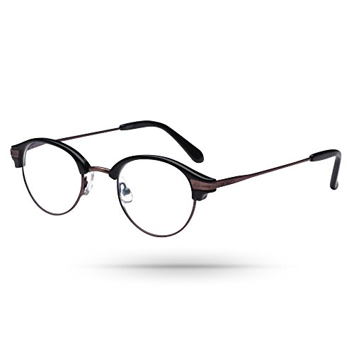 Semi-round Spectacles Classic-Retro Unisex Reading Eyeglasses in Dim Chocolate - In Stores Mall Dartmouth
