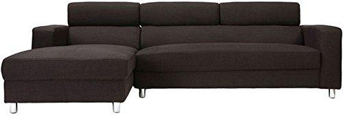 FabHomeDecor Mini FHD169 Five Seater L-Shaped Sofa (Brown)