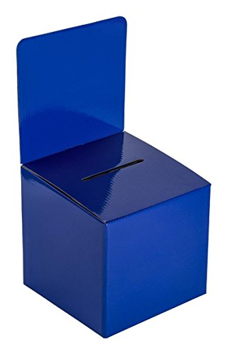 - My Charity Boxes - Pack of 10 - Medium Cardboard Box - Ballot Box - Suggestion Box - Raffle Box - Ticket Box - With Removable Header for Tabletop Use (Blue)