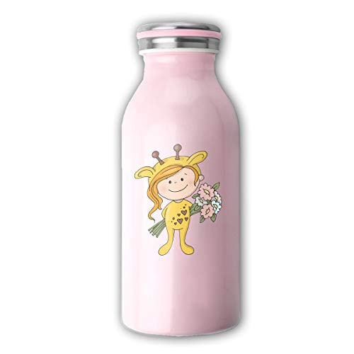 Costume Bouquet (AIENEN Lovely Girl in A Giraffe Costume with A Bouquet Flask Double Wall Vacuum Insulated Stainless Steel Water Bottle Stainless Steel Milk Bottle Keeps Your Drink Hot & Cold)