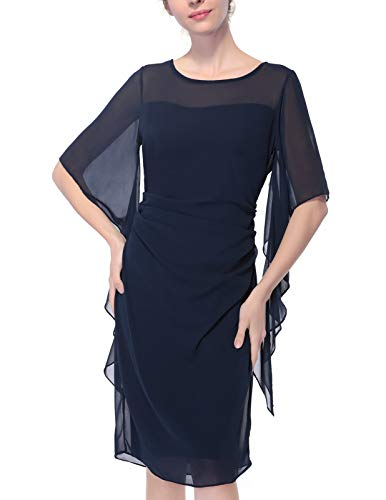 CHICIRIS Women's Casual Chiffon Overlay Ruffle Sleeve Party Dress Cocktail Midi Dresses Navy Blue Size -