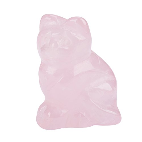 Walfront Rose Quartz Stone Carved Kitten Decor Pink Cat Crystal Healing Gemstone Indoor Decoration for Home Office Statue