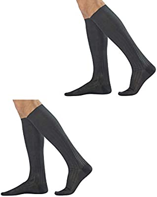 2 pairs of Mens Black KNEE HIGH SOCKS Adult Size 7-9