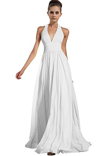 Womens E276LF Bridesmaid White Gown Dress Long TalinaDress Chiffon V Halter Neck Prom SUSFxw
