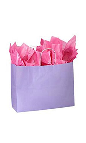 Large Glossy Lavender Paper Shopping Bags - Pack of 100 by STORE001