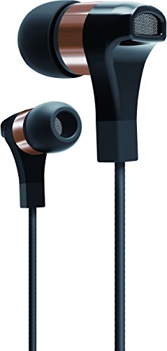 SHARPER IMAGE SHP893RG Premium Ultra Bass HD Earbuds with Built-in Mic for All Devices, Royal Gold