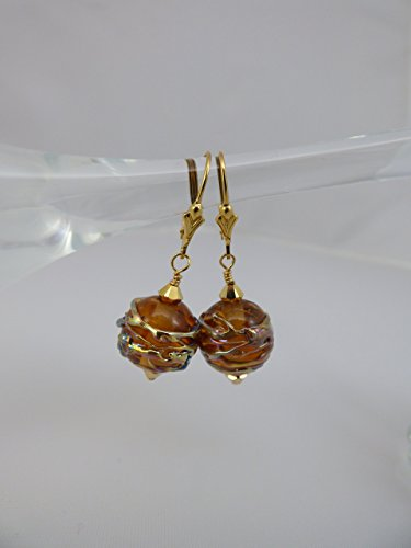 Artisan Lampwork Earrings (Deep Amber Gold Trimmed Artisan Lampwork Round Bead Earrings with Swarovski Accents and Gold Filled Findings and Leverback Ear Wires)