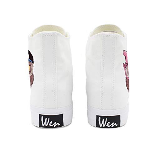 Dibujos Top Otoño De top color Antideslizantes Lienzo Tamaño Primavera Moda Zapatos Hombres 46 Blanco Animados Cubierta Amantes Unisex Botas mujeres Negro Yan BqtY77