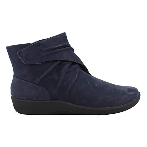 CLARKS Women's Sillian Tana Fashion Boot, Navy Synthetic Nubuck, 100 W US (Sale Womens Ankle Clarks Boots)