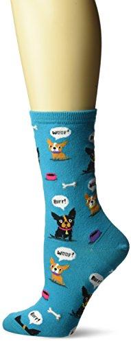 Hot Sox Women's Originals Fashion Crew Socks, Dog Barking (Turquoise), Shoe Size 4-10/Sock Size 9-11 (Sox Hot Dog)