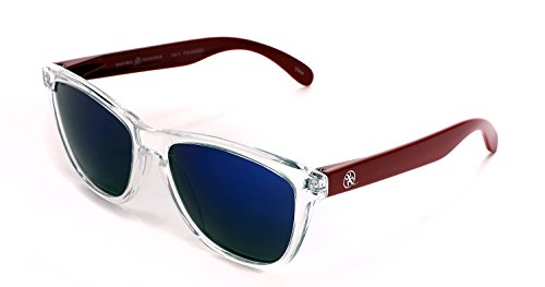 Samba Shades Polarized New Cool Factor Wayfarer Sunglasses with Clear Frame and Red Arms, Mirrored - White Sunglases