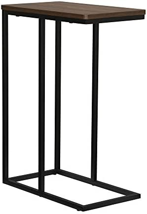 Household Essentials Walnut Industrial Narrow End Table Metal C Shaped Frame and Rectangle Faux Wood Top
