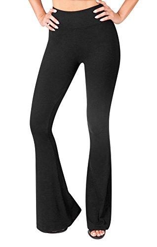 Sejora Satina High Waisted Flare Palazzo Wide Leg Pants | Printed & Solid | reg & Plus (Medium, 1 Black) by Sejora (Image #2)