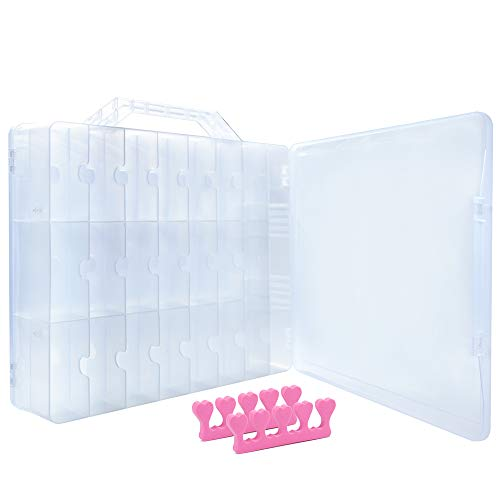 Universal Double Side Transparent Nail Polish Gel Organizer Holder for 48 Bottles Adjustable Space Divider with Two Toe Separator - Front Clear Door Hinged