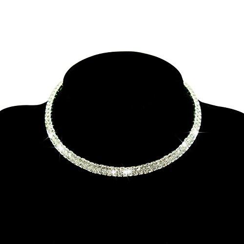 Fit&wit Bridal Wedding Jewelry Crystal Rhinestone Collar Choker Necklace Silver (2-row Cz Rhinestones) Row Rhinestone Necklace