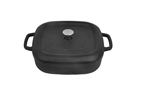 Matte Black Shallow Ceramic Dutch Oven