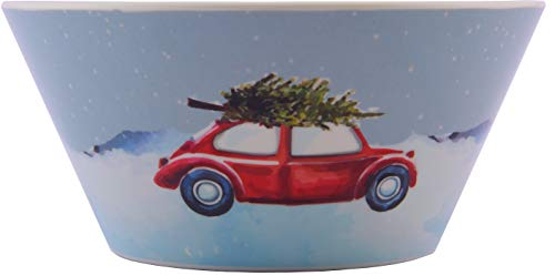 Plate 10.5 Melamine (Melange 608410091528 6-Piece 100% Melamine Bowls Christmas Collection-Tree on Van Shatter-Proof and Chip-Resistant|, 10.5