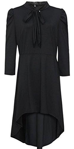 Cromoncent Femmes Été Manches 3/4 Sexy Noeud Papillon Salut-bas Mini-robe Noire