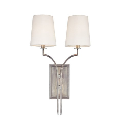 - Glenford 2-Light Wall Sconce - Antique Nickel Finish with Off White Faux Silk Shade
