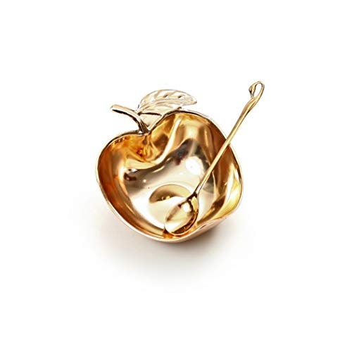 Rosh Hashanah Apple Shaped Honey Dish and Spoon, Gold Plated