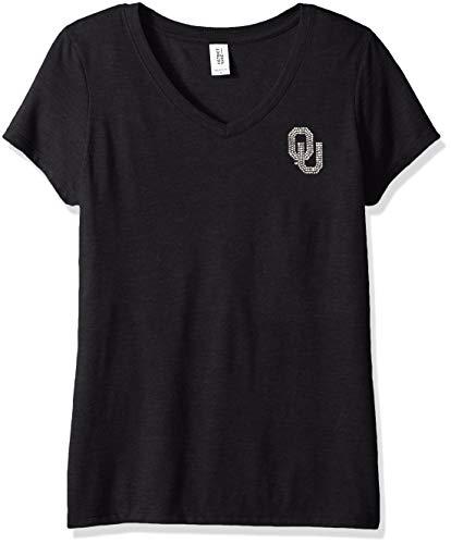 Nitro USA NCAA Oklahoma Sooners Womens Super Soft Women's Collegiate Bling V-Neck Tee, Black, ()