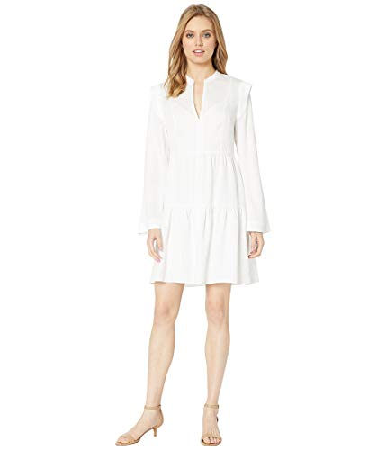 BCBGMAXAZRIA Women's Day Short Woven Dress Optic White Combo Medium (Bcbgmaxazria Dress Women)