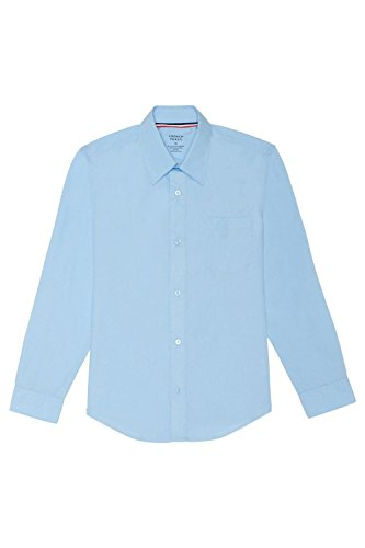 French Toast Men's Long Sleeve Classic Dress Shirt, Light Blue, Large by French Toast
