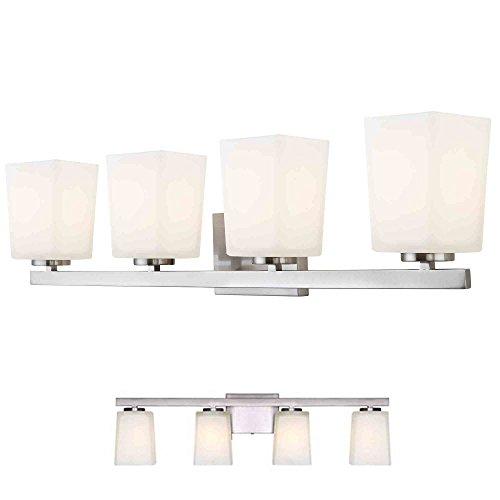 Brushed Nickel Vanity 4 Light Fixture Bathroom Bath Bar Flat Opal Glass - Deco Bath Four Light