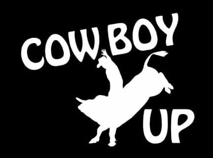 [Cowboy Up Decal Vinyl Sticker|Cars Trucks Vans Walls Laptop| White |5.5 x 4 in|LLI201] (Football Yard Marker Costume)