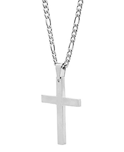Q&S Jewels White Gold Figaro Chain with Cross Pendant for Men Teens Boys 20 Inch 18K White Gold Plated Stainless Steel Necklace ()