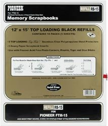 Pioneer Albums Bulk Buy Postbound Top Loading Page Protectors 5 Pack 12 inch x 15 inch (with Black Inserts) RB15 (3-Pack)