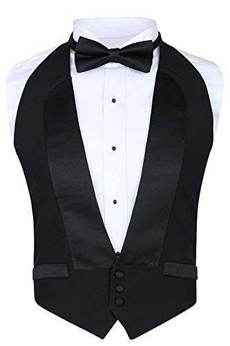 Men's Classic Formal 100% Wool Black Backless Tuxedo Vest Includes Bow Tie (Small - XLarge (Adjustable)) - Waistcoat Black