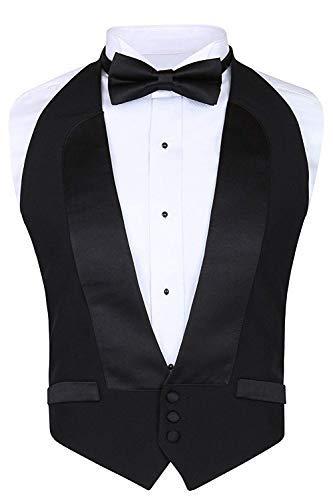 Tux Vest Mens - Men's Classic Formal 100% Wool Black Backless Tuxedo Vest Includes Bow Tie (Small - XLarge (Adjustable))