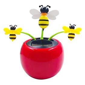 YINGYUE Cute Plastic Solar Power Bee Flower Car Ornament Flip Flap Pot Swing Toy Home Office Decor ()