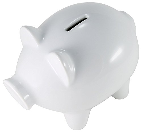 Hikari Medium White Ceramic Piggy Bank for Girls or Boys. Money / Coin Bank - Lead and Cadmium Free, 1 Unit (Large Pig Bank)