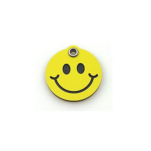 LuckyPet Pet ID Tag - Smiley Face - Durable Plastic Dog & Cat Tags - Deeply Custom Engraved on Back - Color: Yellow, Size: Small