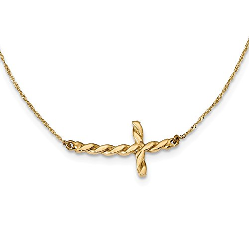 Religious Twisted Necklace - Solid 14k Yellow Gold Polished Twisted Sideways Cross 17 inch Necklace Chain (0.7mm)