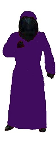 Black Mesh Face Robe - Hidden Mesh Face Robe in Red or Purple with Black Gloves (Purple)