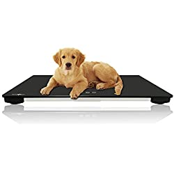 ONETWOTHREE Digital Pet Scale to Measure Big Dog Cat 3 Weighing Modes(kg/oz/lb), 220 Pound (lbs) Capacity Precision 0.35 OZ,25.6 x 17.7 Inch,Giving Yoga Mat
