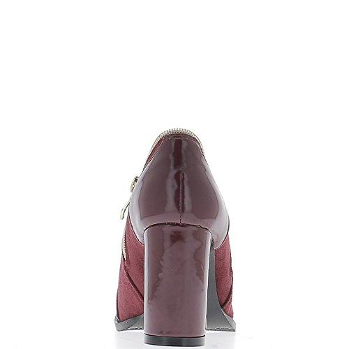 Stivali bassi in Bordeaux con bi materiale di grande tacchi 8,5 cm